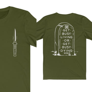 FAST DOLL Switchblade & Tombstone Short Sleeve Tee - Asphalt Grey or Olive Green by FastDoll