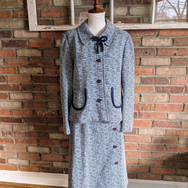 Vintage 1960's Neiman Marcus Blue Skirt Suit Set with Amazing Purple Buttons by BeesKneesVintageDC