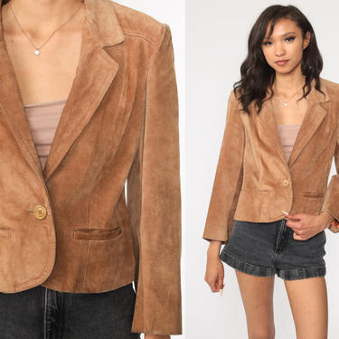 Leather Blazer Jacket Brown SUEDE Jacket 80s Bohemian Professor Boho Hippie Coat Vintage Hipster Collared Button Up Extra Small xs by ShopExile