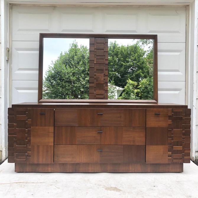 Mid-Century Brutalist Modern Dresser With Mirror by secondhandstory