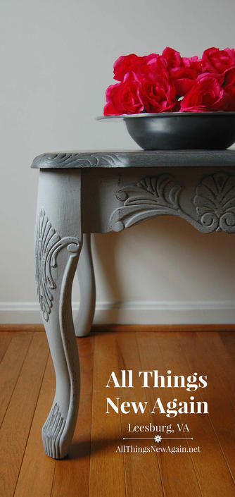 French Country Gray Side Table End Small With Elegant Carving Shabby Chic Vintage By