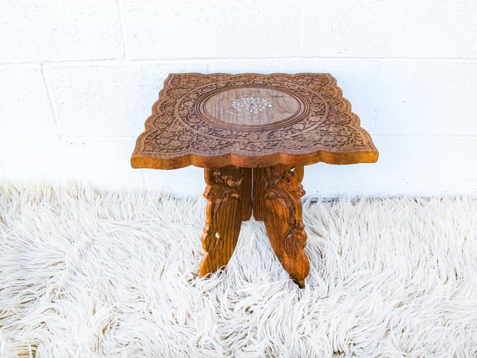 Stunning Rare Vintage Hand Carved Square Moroccan Style Teak Table by PortlandRevibe