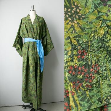 1970s Kimono Japanese Robe Green Rayon by dejavintageboutique