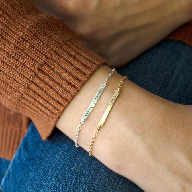 Personalized Bar Bracelet, Gold Baby Bracelet, Dainty Personalized Bracelet, Personalized Baby Jewelry, Flower Girl Bracelet, Gift for Her by LEILAjewelryshop