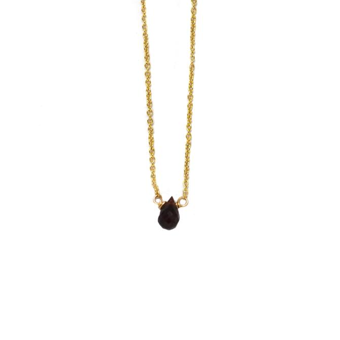 Garnet Mini Drop Stone Necklace