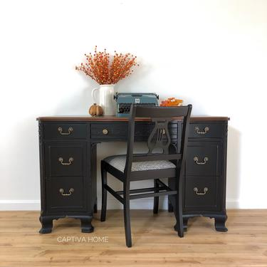 Vintage Wood & Black Distressed Desk, Vanity Set, Gold Hardware, Refinished Furniture, Solid Mahogany Top, Pretty Details, Chair by CaptivaHomeDecor