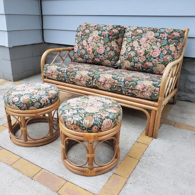FREE SHIPPING! Vintage Rattan 5pc Patio Furniture Set   Boho Wicker Loveseat, Ottoman, Plant Stand, Magazine Rack by SavageCactusCo
