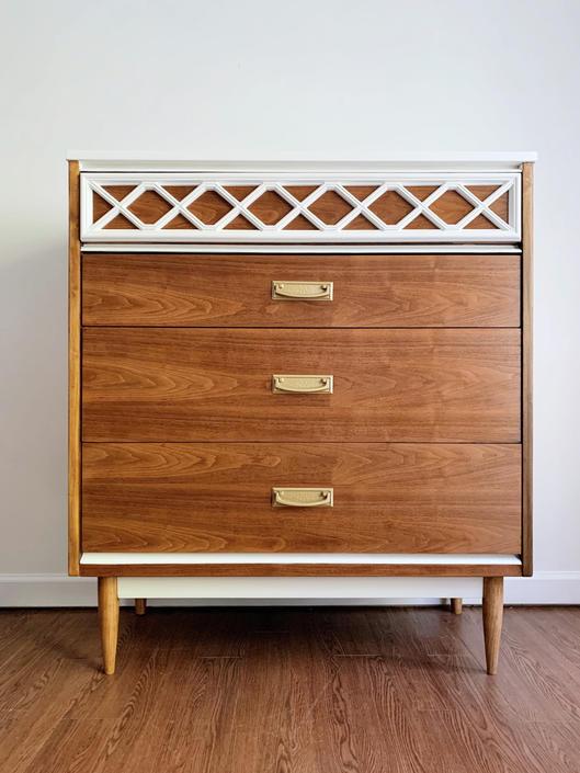 Mid Century Tall Dresser by Bassett Furniture by madenewdesignct