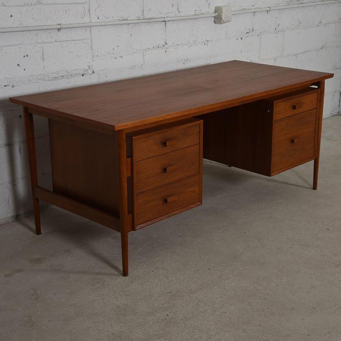 Danish Modern Teak Large Floating Top Office Desk