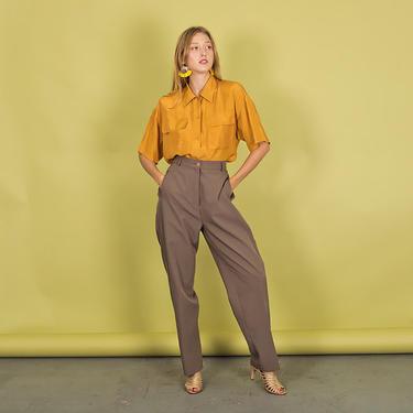 80s Dark Khaki Trousers Vintage Straight Leg Minimal Pants by AppleBranchesVintage