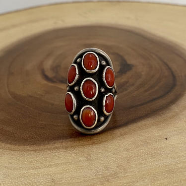 POP ROCKS Vintage Sterling Silver and Coral Ring | Native American Navajo Style Jewelry | Cluster Stone Setting | Boho, Southwest | Size 8 by lovestreetsf