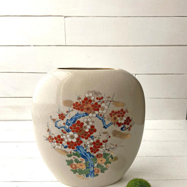 Vintage Cherry Blossom Blue Tree Vase, Red And White Flowers, Artmark Porcelain | Vintage Asian Themed Vase, Home Decor, Tree Desin by CuriouslyCuratedShop