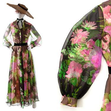 Vintage 1970s Maxi Dress   70s Black Floral Printed Chiffon Shirtwaist Bishop Balloon Sleeve Full Skirt Full Length Party Dress (medium) by BirthdayLifeVintage