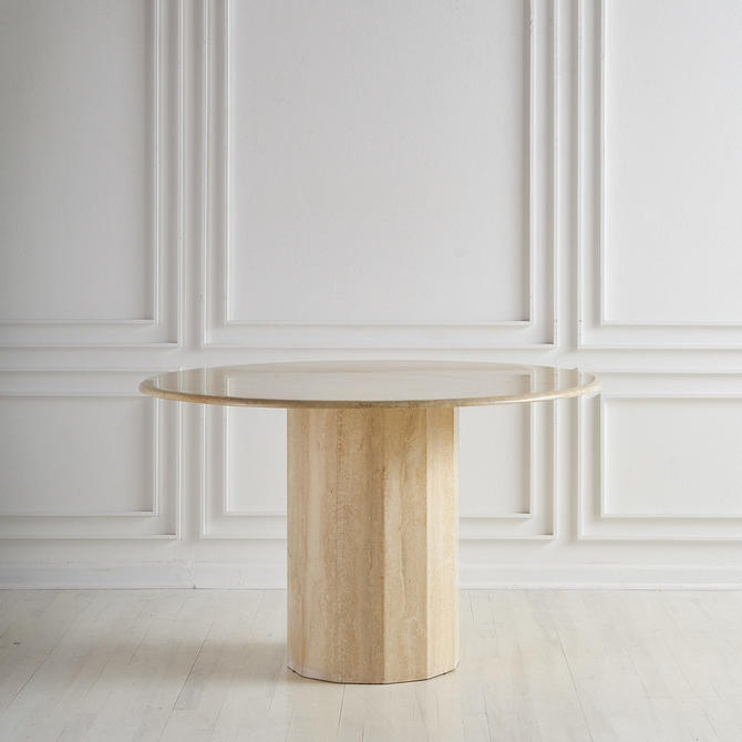 Round Italian Travertino Dining or Center Table