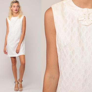 LACE Mini Dress 60s Mod Party 1960s Cocktail White Bohemian Shift Vintage Boho Wedding Sleeveless Romantic Formal Twiggy Small by ShopExile