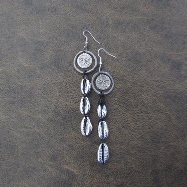 Long cowrie shell earrings, gunmetal eye of Horus earrings, Afrocentric African earrings, Egyptian statement earrings, bold earrings by Afrocasian