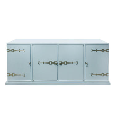 Tommi Parzinger 4 Door Blue Cabinet with Iconic Hardware 1960s