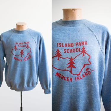 Vintage 1960s Raglan Sweatshirt / Vintage 60s Pullover Sweatshirt / Island Park School / Mercer Island Sweatshirt / Vintage Scholar by milkandice