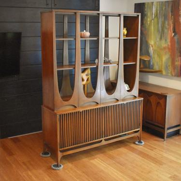 Broyhill Brasilia walnut room divider base/deck - 6140-72/73 *ULTRA RARE* by MidCenturyClever