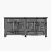 Distressed Pastel Black Gray White Mix High Credenza Console Buffet Table cs5368S