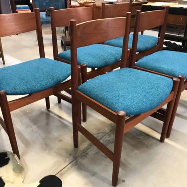 Stunning Set Of 5 Mid Century Danish Modern Hans Wegner Teak Dining Chairs With New Upholstery by ModernFlamingo
