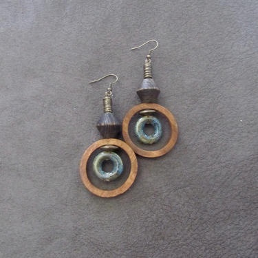 Wooden earrings, Afrocentric hoop earrings, mid century modern earrings, African earrings, bold statement, unique ethnic earrings, blue 2 by Afrocasian