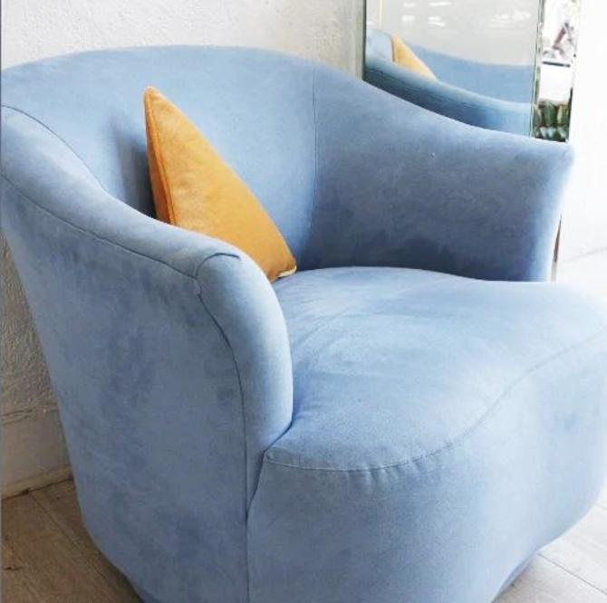 Blue Microsuede Swivel Chair