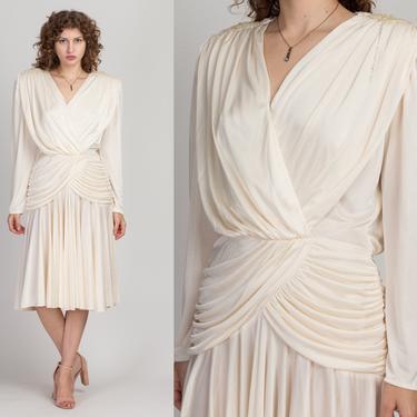 80s Ivory Ruched Drop Waist Dress - Medium to Large | Vintage Boho Beaded Shoulder Midi Party Dress by FlyingAppleVintage