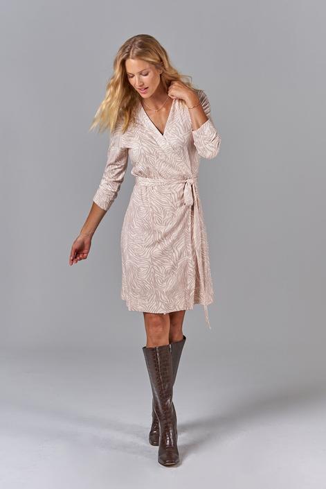 Rachel Wrap Dress   Ecru Tiger