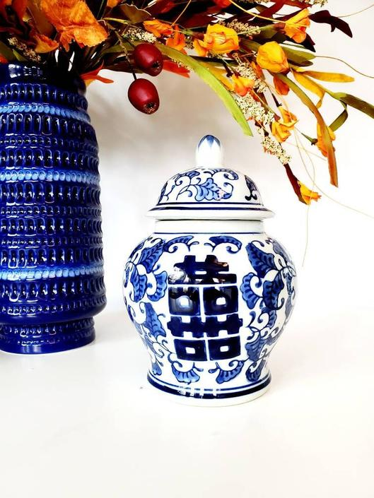 Blue & White Chinoiserie Double Happiness Ginger Jar by pennyportland