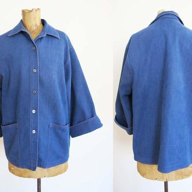 Vintage 70s Denim Chore Coat M L - 1970s Dark Blue Chore Jacket Wide Cut Sleeves - Brushed Cotton Blue Jean Jacket by MILKTEETHS