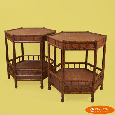 Pair of Burnt Bamboo Drum End Tables