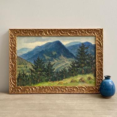 Vintage Mountain Landscape Oil Painting by ModRendition