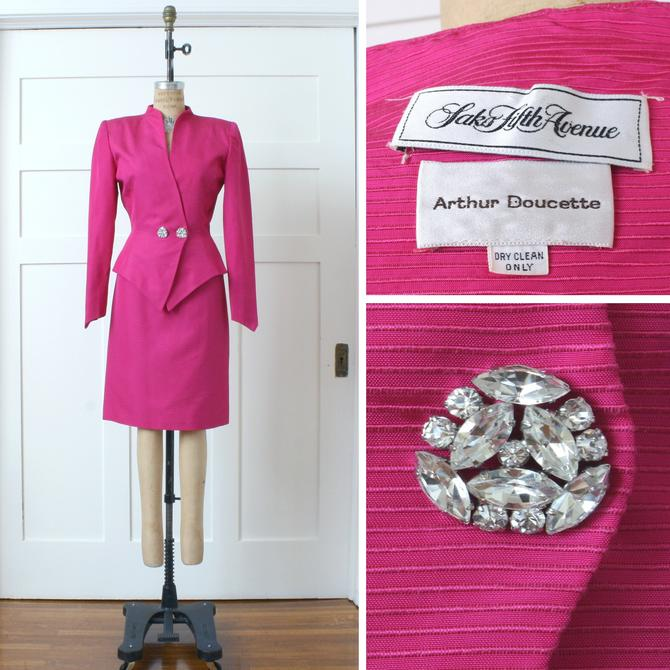 designer vintage 1990s womens suit • neon hot pink silk skirt & jacket • nipped waist power suit by LivingThreadsVintage