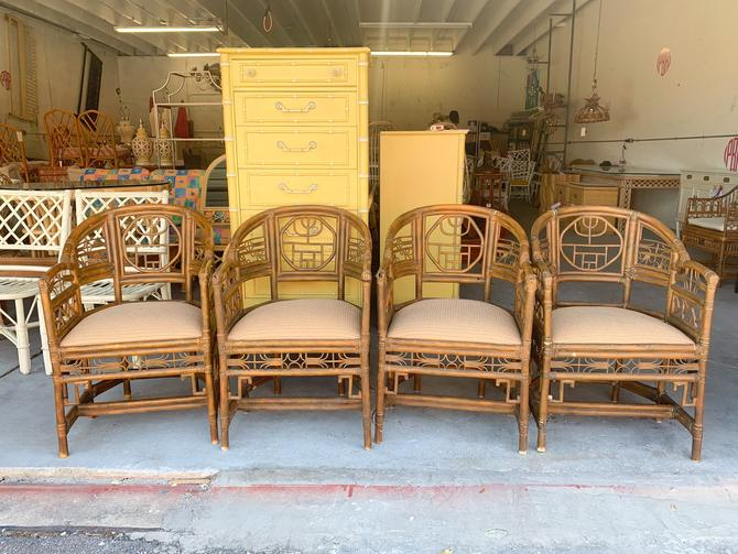 Pair of French Style Chinoiserie Rattan Chairs