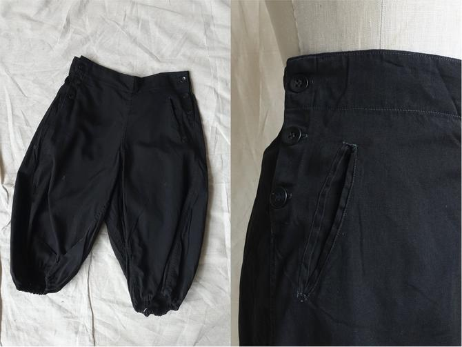 Vintage Black Cotton Bloomers/ 1920s Athletic Wear Side Button Shorts/ Size 28 Medium by bottleofbread