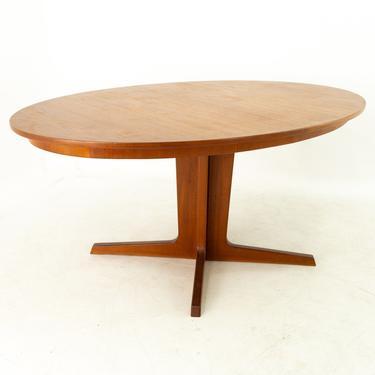 Bernhard Pedersen Mid Century Danish Teak Oval Pedestal Base Dining Table by ModernHill