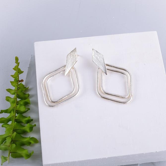Silver Geometric Dangle Earring, Diamond Geometric Earring, Modern Diamond Earring, Minimal Diamond Earring, Boho Dangle Earring by OrlySegal
