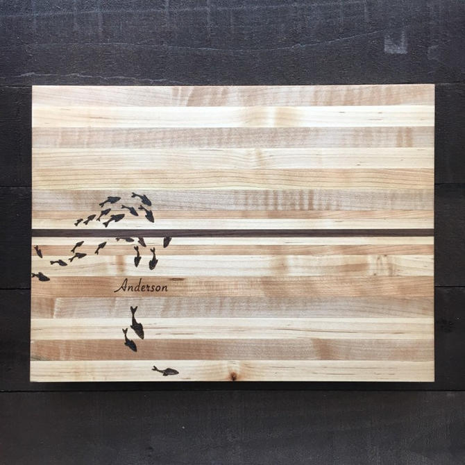 RESERVED - Maple Cutting Board with Cherry and Walnut Accents, Custom Wood-Burning by TheNimbleBarber