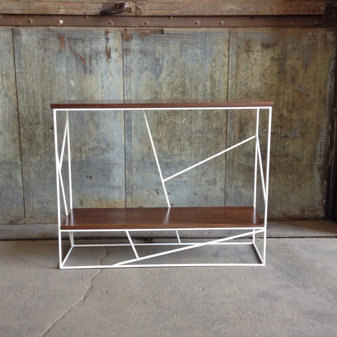 Modern Walnut Hall Table with Geometric Steel Base by PWHFurniture