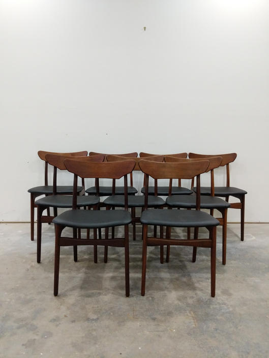 Set of 9 Vintage Danish Modern Schionning & Elgaard Dining Chairs by FarOutFindsNYC