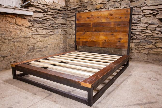 Abbey Road - Industrial Platform Bed from Reclaimed Wood by StrongOaksWoodshop