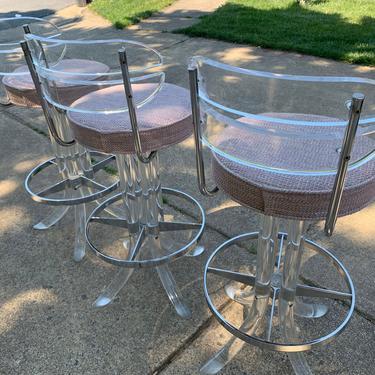 MidCentury Lucite Chrome bar chairs by DanishGarage