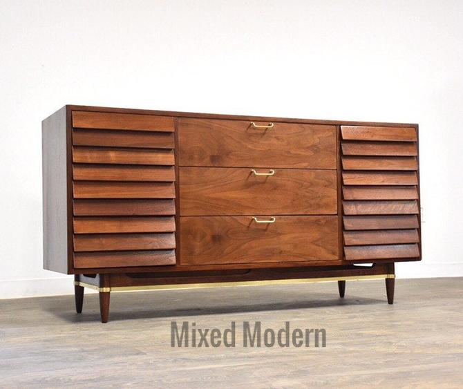 American of Martinsville Dania Walnut Dresser by mixedmodern1