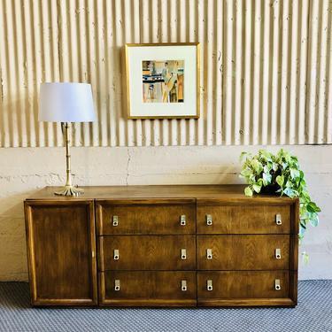 70s - 80s Honey Oak Credenza / Dresser by Bassett