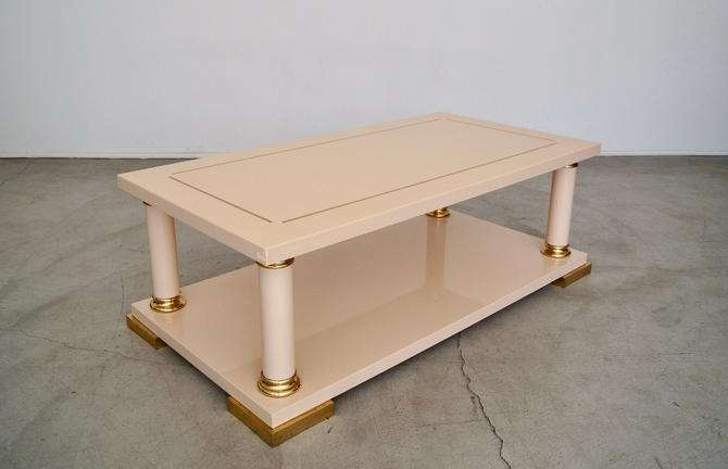 Vintage 1970's Italian Lacquered Hollywood Regency Coffee Table by CyclicFurniture