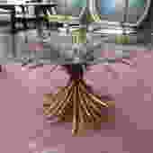 Vintage MCM gilt metal sheaf of wheat coffee table