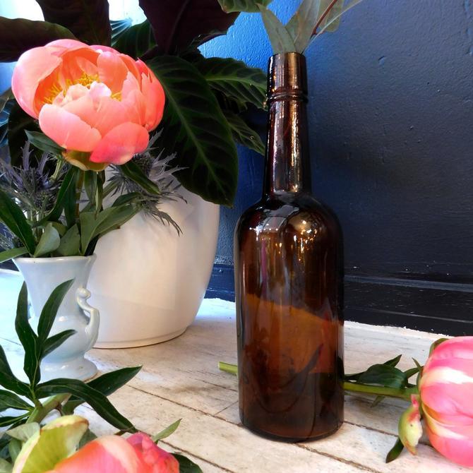 Vintage Amber Bottle Vase