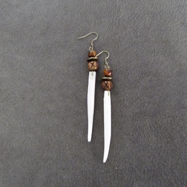 Ethnic earrings, tribal brass dangle earrings, horn Afrocentric African earrings, bold statement carved bone earrings, primitive exotic boho by Afrocasian