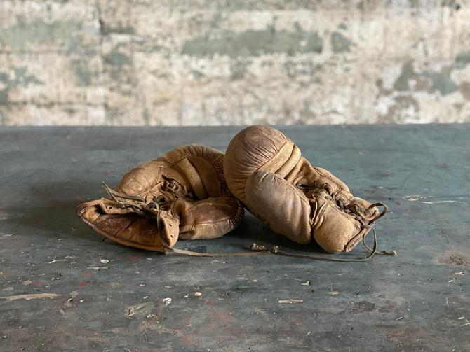 Antique Pair of Leather Boxing Gloves Americana Sports Decor by NorthGroveAntiques